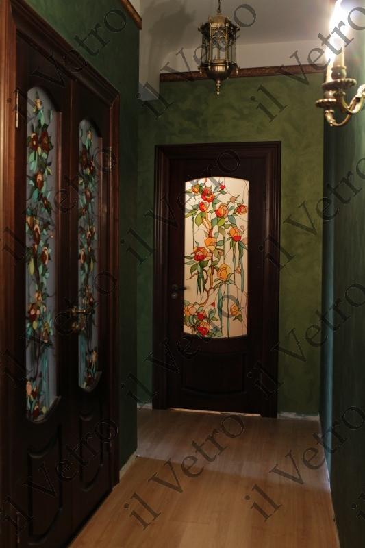Витраж дверей цветы
